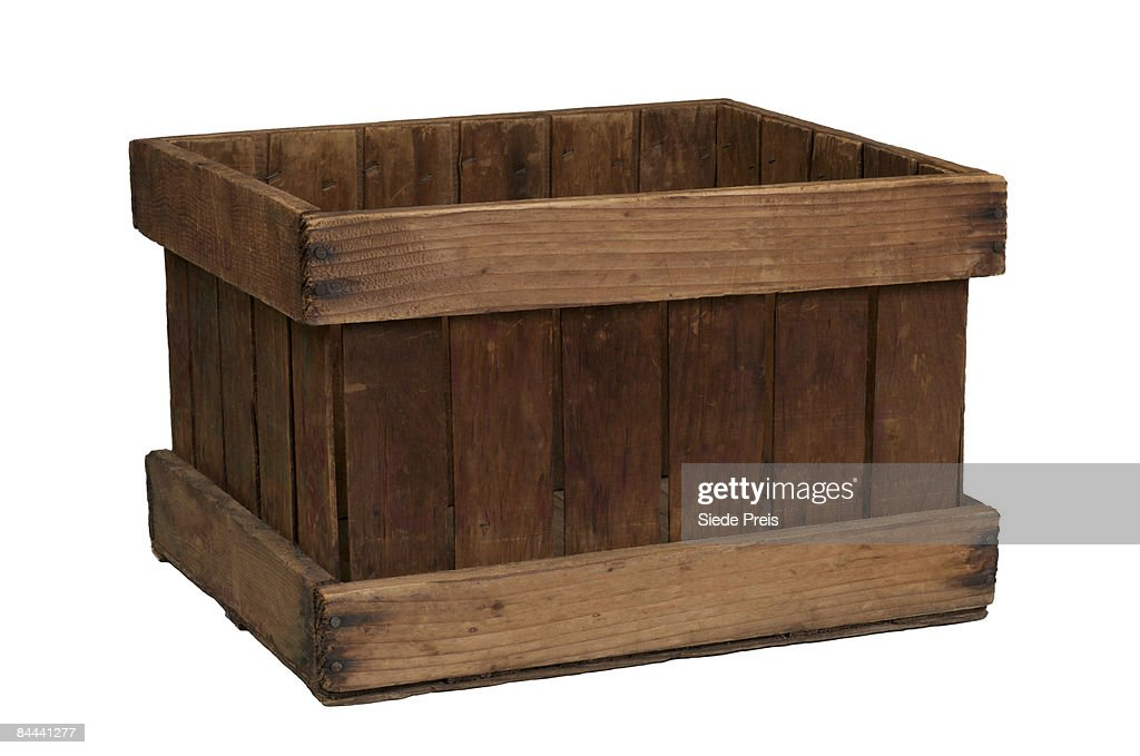 Old Fashion Wooden Crate on White