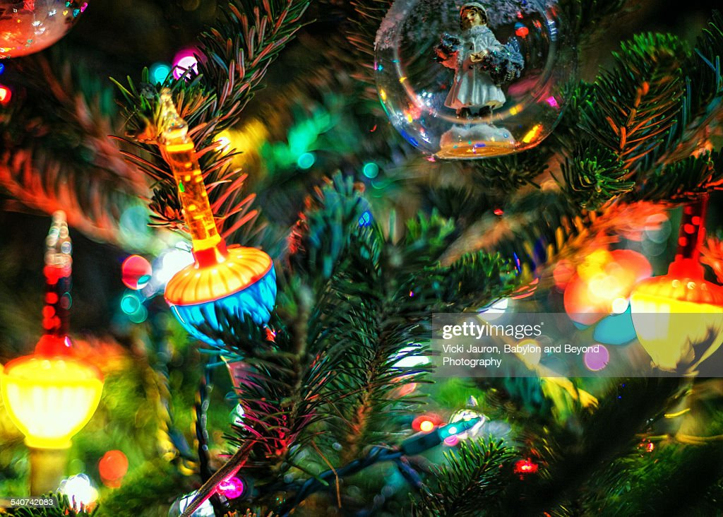 old fashioned christmas bubble lights stock photo - Christmas Tree Bubble Lights