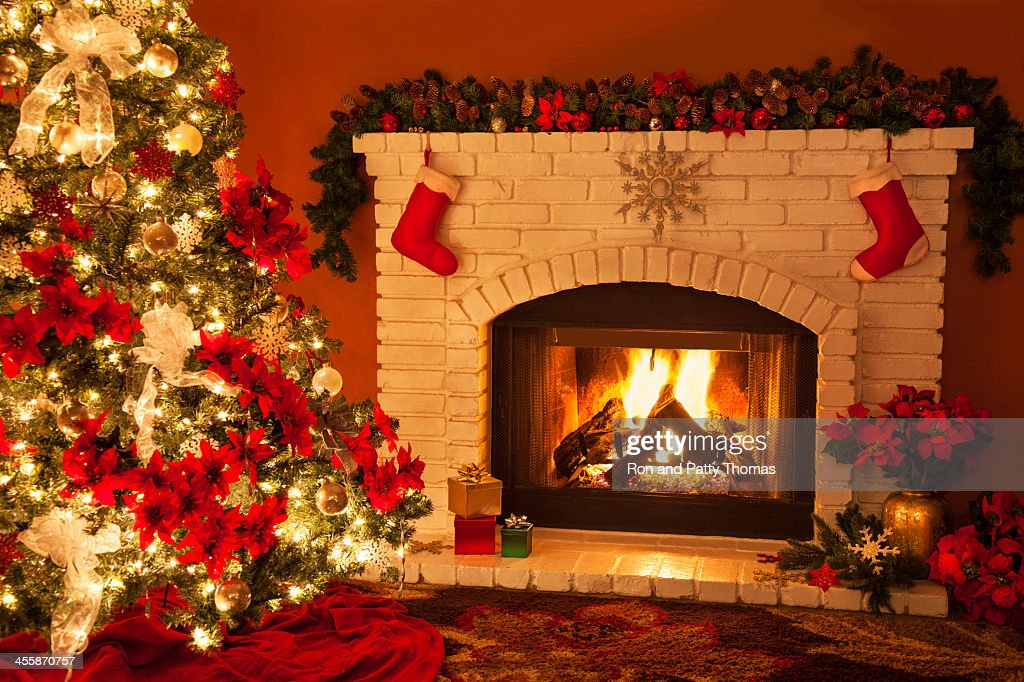 Old Fashioned Christmas Fireplace And Tree Stock