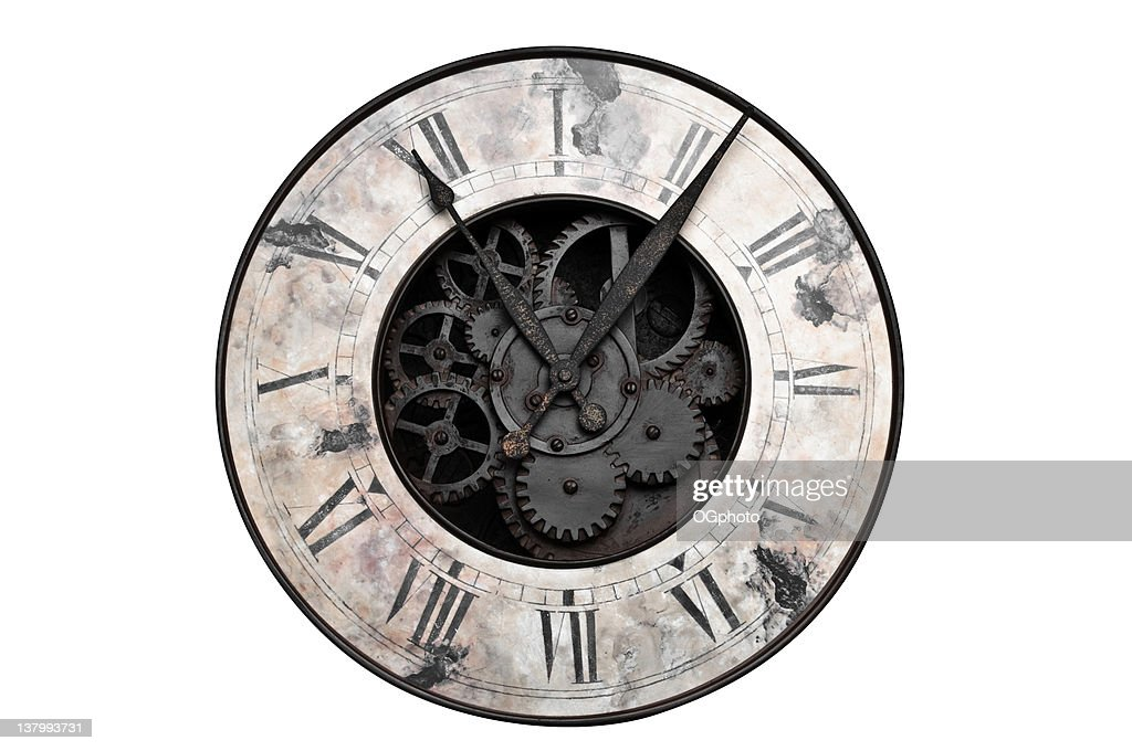 Old Clock Gears : Old fashioned clock with visible center gears stock photo