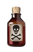 Old fashioned drug bottle, isolated.