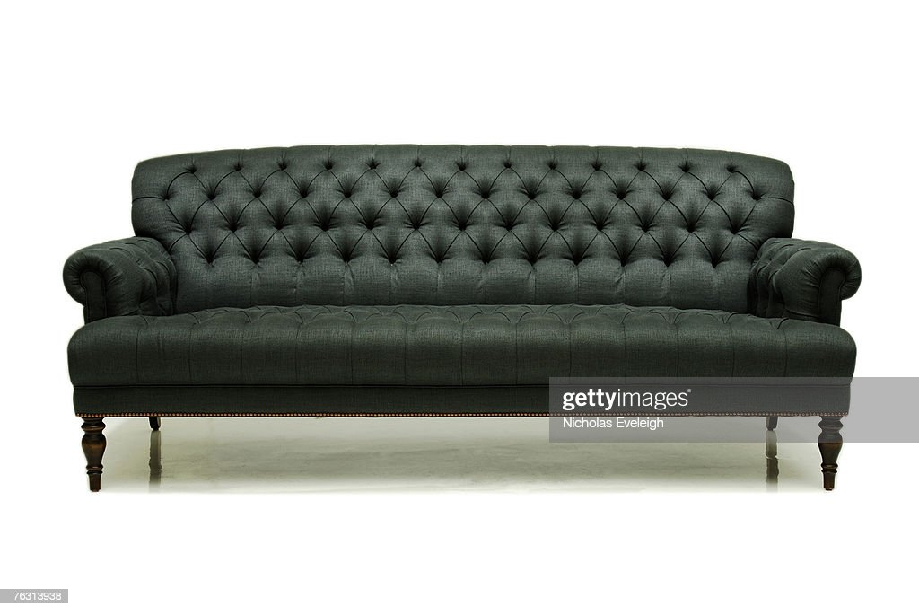 Old fashioned grey couch on white background stock photo for Old fashioned couch