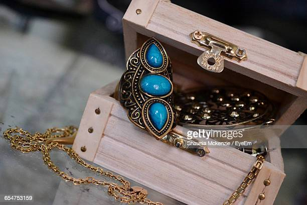 Old Fashioned Jewelry In Wooden Box