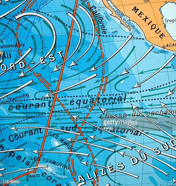 Old fashioned map of the ocean currents.