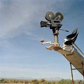 Old fashioned movie camera on crane