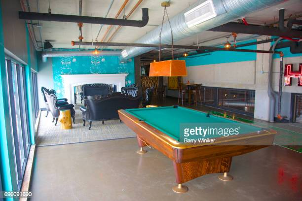 Old fashioned pool table at Cleveland lounge
