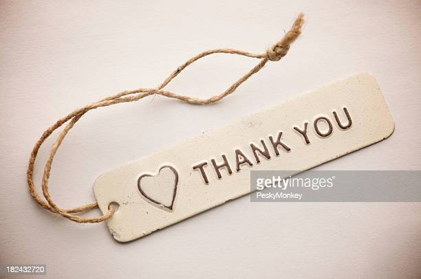 Old Fashioned Rustic Thank You Tag Message With Heart