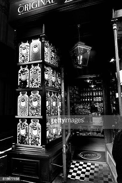 Old fashioned sweet shop façade on London street
