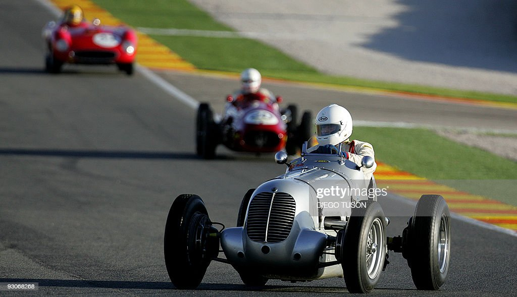 Old Ferrari cars race during the Historic Challenge of the Finali Mondiali Ferrari at Ricardo Tormo's circuit in Cheste near Valencia on November 15...