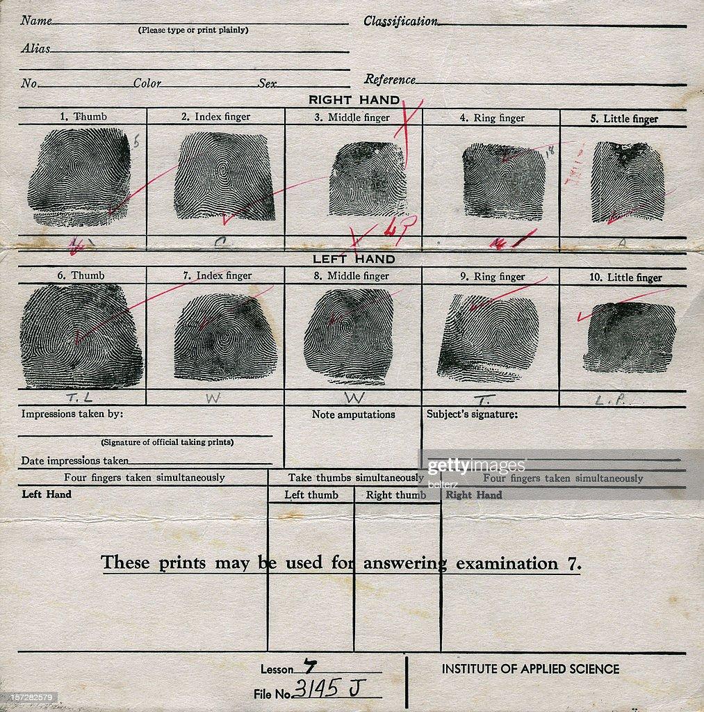 old fingerprint chart : Stock Photo
