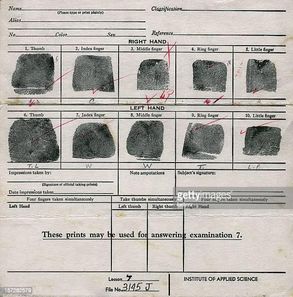 Vecchia tabella di impronte digitali