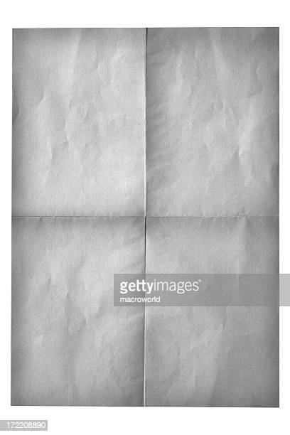 Old Folded Paper White Background