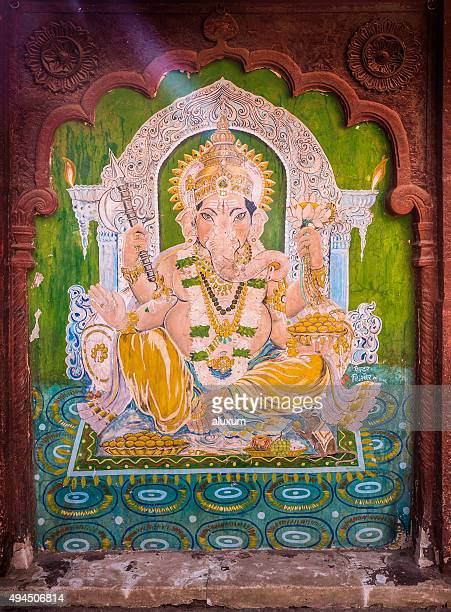 Old ganesha painting in Fort Pokaran Rajasthan India