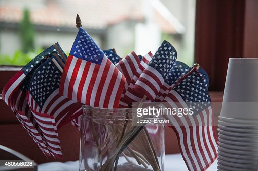 Old Glory in a cup : Stock Photo