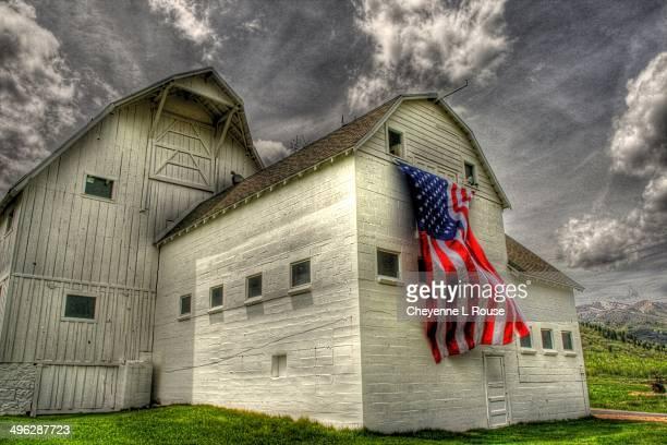 Old glory on old barn in Park City Utah
