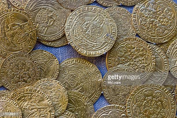 Old gold coins from the 14th century