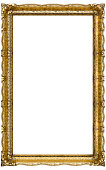Verry Big Old Gold picture frame, isolated on white - extra large file and quality - 90mpx