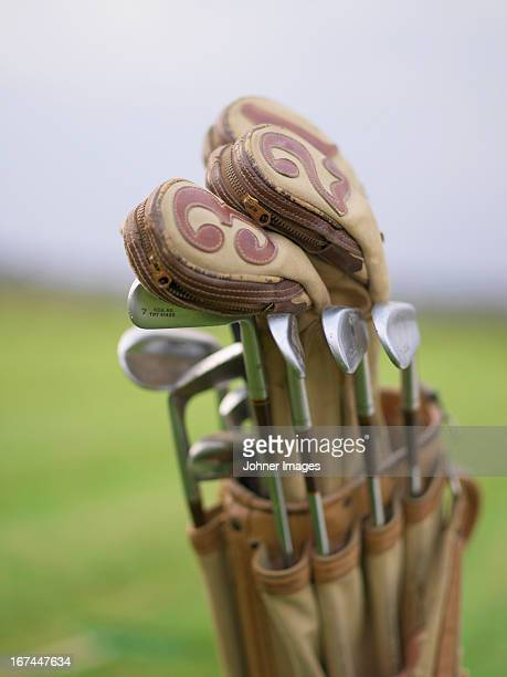 Old golf clubs in a golf bag, Sweden.