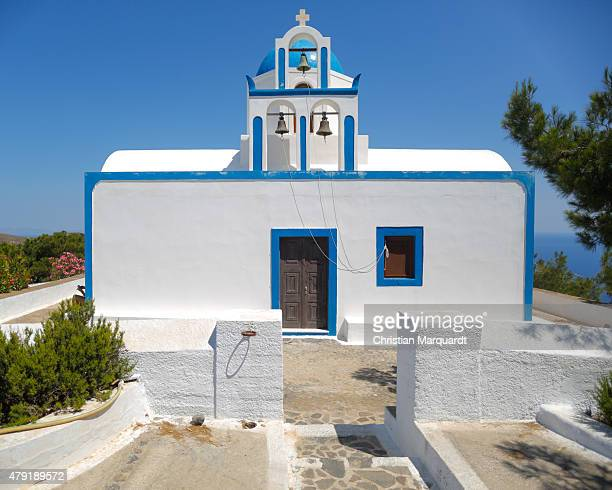 A old Greec orthodox church is pictured next to the Aegon sea on June 11 2015 in Santorini Greece Santorini is an island in the southern Argon Sea...