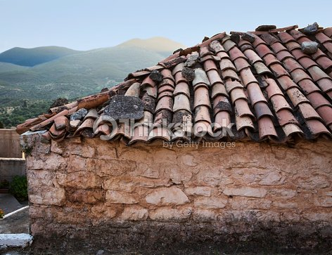 Old Greek House With Tiles Roof Stock Photo