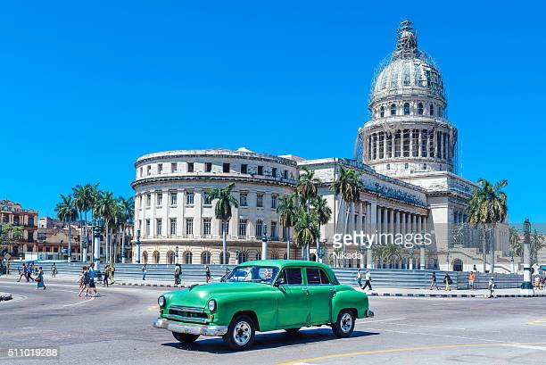 Old Green American car on Havana street