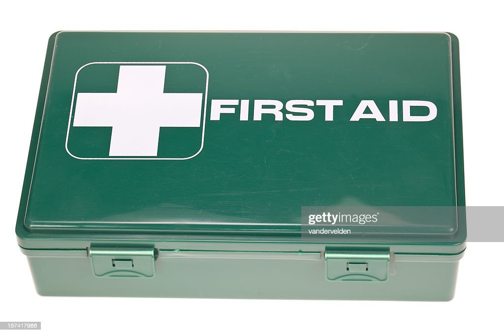 old green first aid kit stock photo getty images