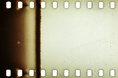 Blank yellow vibrant noisy film strip texture background