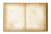 old grunge open notebook isolated on white with clipping path