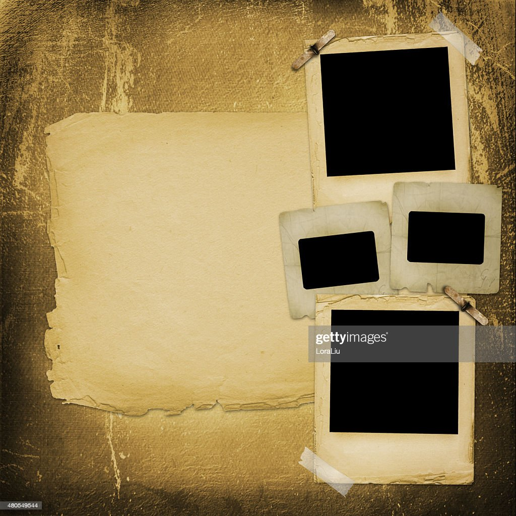Old grunge paper slides on the ancient background : Stock Photo