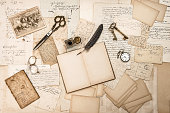 Old handwritten letters, pictures and antique writing accessories. Nostalgic sentimental paper background