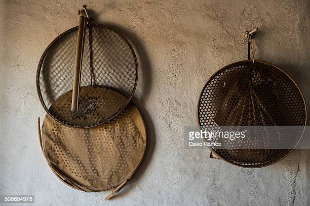 Old harvesting tools are seen at farmer Jose Francisco Mari on January 18 2016 in Valencia Spain According to the Valencia's Tiger Nut Regulatory...