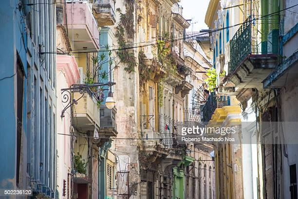 Old Havana Cuba Weathered vintage colonial buildings in a non touristic neighborhood Old Havana is a Unesco World Heritage Site