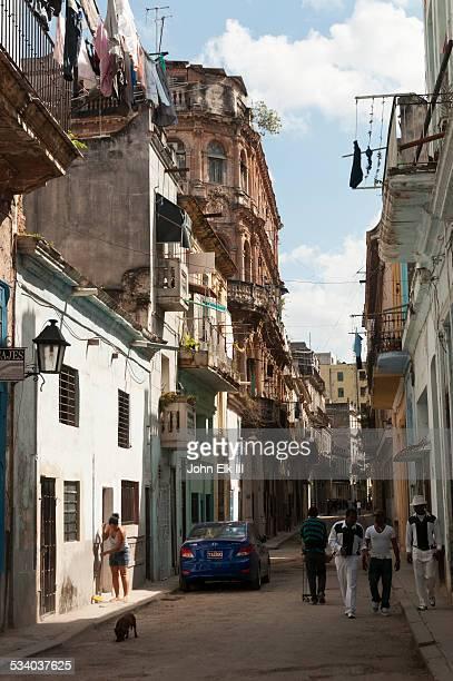 Old Havana street scene with renovated buildings