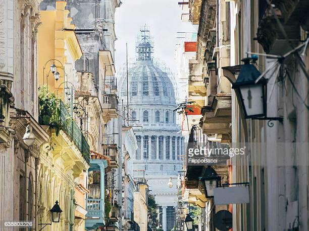 Old Havana street with Capitolio dome