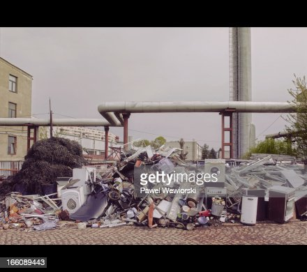 old home appliances on dump : Stock Photo