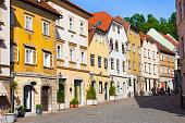 Old houses in medieval city center of Ljubljana, Slovenia, Europe.