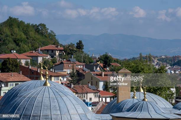 Old houses of Kastamonu seen with  the coupolas of Yakup Aga mosque in the foreground, Turkey