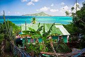 old hut near caribbean lagoon