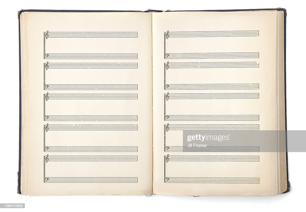 Old hymnal book with blank pages.