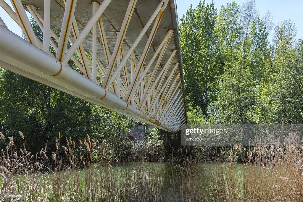 old iron bridge in Palencia, Spain : Stock Photo