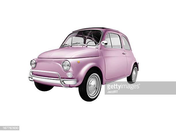 Old italian pink car (isolated with clipping path white background)