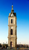 The famous clock tower in the old city of Jaffa, Israel. The tower was builit between the years 1900-1903, and remains one of Jaffa's most prominent landmarks.