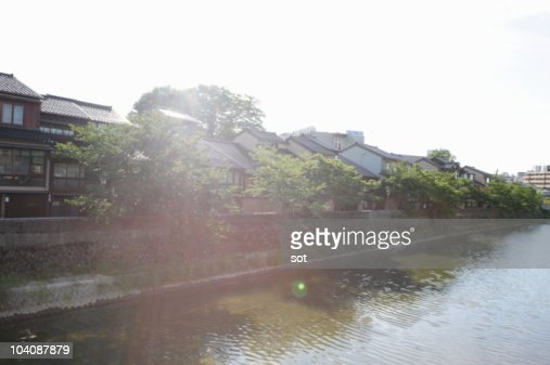 Old Japanese style houses beside the river