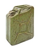 Old jerry can isolated on white background.