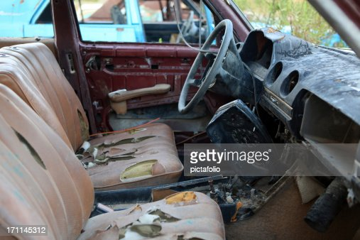 old junky car interior stock photo getty images. Black Bedroom Furniture Sets. Home Design Ideas