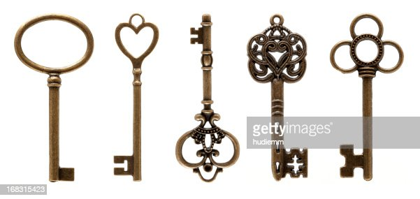Old Keys (clipping path all) isolated on white background