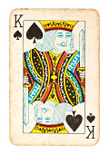 Old King of Spades Isolated on White