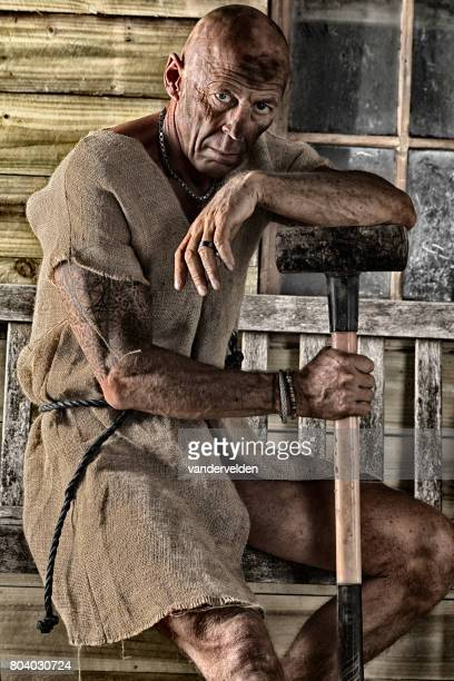 Old labourer worn out with work