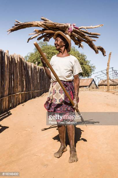 Old lady carrying wood