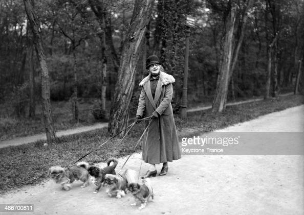 Old lady walking her dogs in November 1929 in Paris France